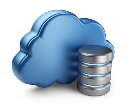 virtual server: Cloud computing and database  3D icon isolated on white background