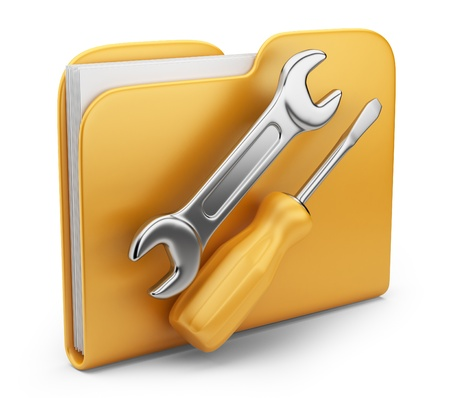 Folder with tool  3D computer icon isolated on white