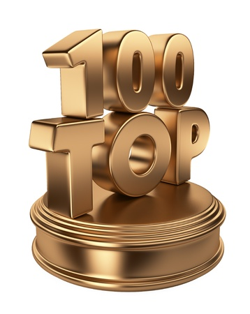 Top 100 on podium  3D icon isolated on white background