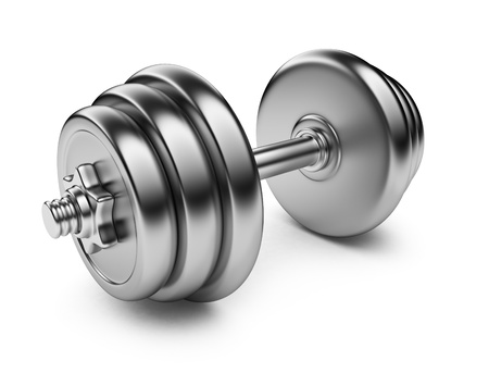 heavy equipment: Metallic dumbbell  3D Icon isolated on white background