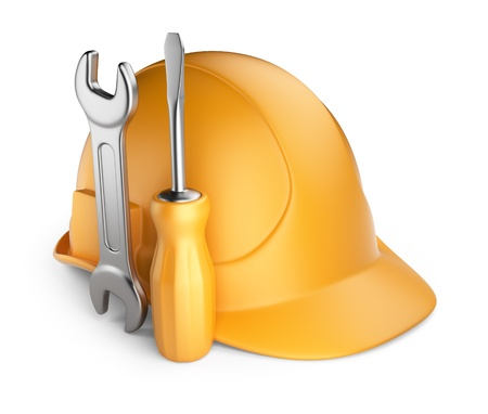 headgear:  Helmet and tools  3D Icon isolated on white background