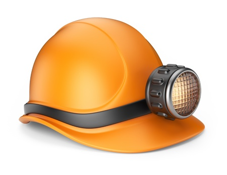 mining icons: Miner helmet with lamp  3D Icon isolated on white background Stock Photo
