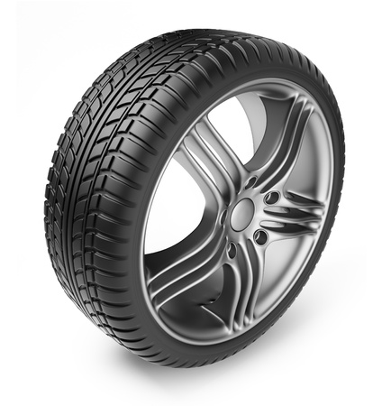 Tire with metal wheel  3D Icon isolated on white background photo