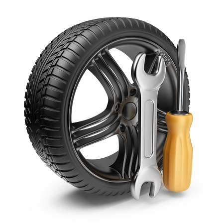 Wheel and tools  Car service  3D Icon isolated on white background