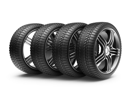 Tire with metal wheel  3D Icon isolated on white background Stock Photo - 15940124
