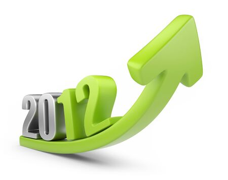 Successful new year 2012  3D calendar isolated on white photo