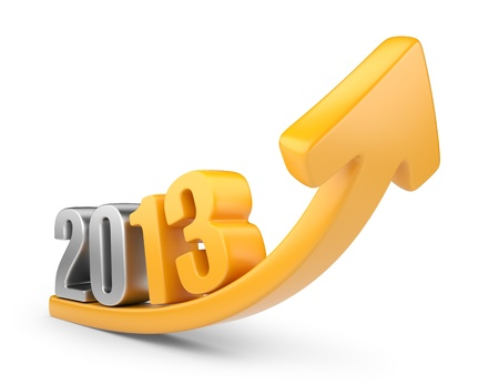 fortunate: Successful new year 2013  3D calendar isolated on white