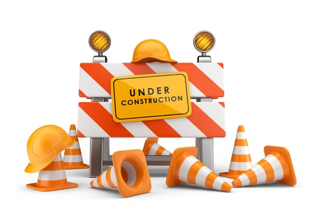Under construction concept  3D barrier isolated on white photo
