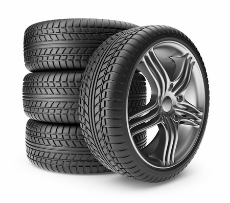 tire shop: Automobile tire  Wheel 3D, Icon isolated on white background Stock Photo