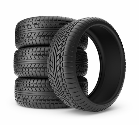 Rubber tire  Wheel 3D, Icon isolated on white background Standard-Bild