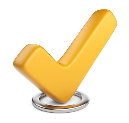 Yellow check mark  3D Icon isolated on white background  photo
