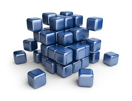 disorganized: Assemble or destruction cubes  3D Illustration isolated on white