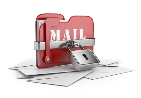 Secure mail data  Email concept  3D icon isolated white background Stock Photo - 16691282
