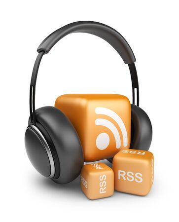news cast: Feed of rss audio news   Podcast concept  3D icon isolated