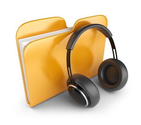Yellow audio folder with headphones  3D Icon isolated on white  photo