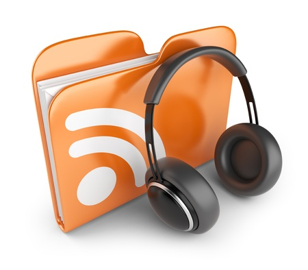 news cast: RSS audio folder  Concept of podcast feed  3D Icon isolated