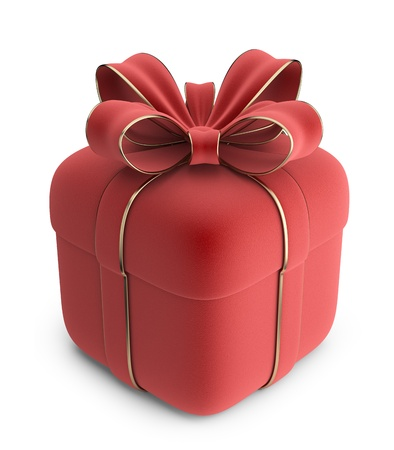 new years day: Gift 3D  Red box with bow  Isolated on white background