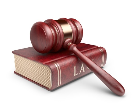 legal law: Wooden gavel with book. LAW concept. 3D Icon isolated
