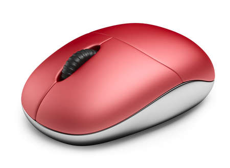Single red computer mouse. 3D Icon isolated on white background Stock Photo - 17971264