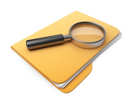 Magnifying glass on folder. Search file. 3D Icon isolated  Standard-Bild