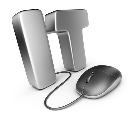 it tech: Mouse with IT letter. Information technology concept. 3D Icon isolated