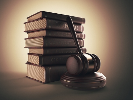 Wooden gavel with book. LAW concept. 3D illustration