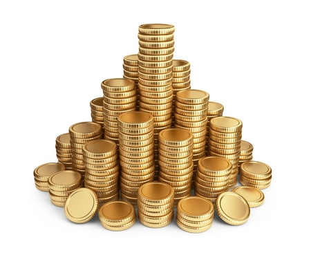 stack of coins: Big pile of coins. 3D Icon isolated on white background Stock Photo