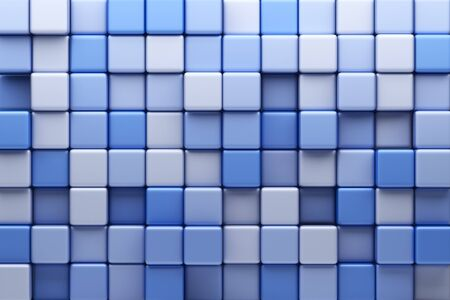 stochastic: Abstract background of blue cubes. 3D Illustration Stock Photo