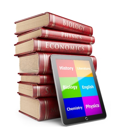 digital library: Tablet PC with books. Education concept. 3D Icon  isolated  Stock Photo