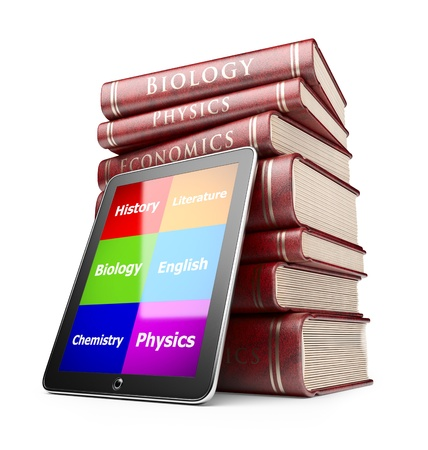 Tablet PC with books. Education concept. 3D Icon  isolated  photo