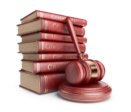 Wooden gavel with books. LAW concept. 3D Icon isolated  Archivio Fotografico