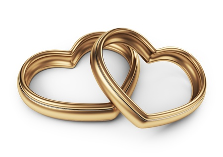 wedlock: Gold two love ring. 3D Isolated on white background