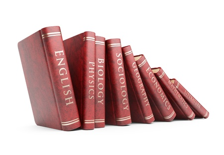 encyclopedias: Row of books. Education concept. 3D icon isolated Stock Photo