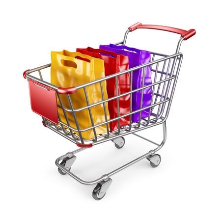 carrinho: Carrinho de mercado com sacolas de compras. 3D isolado no fundo branco