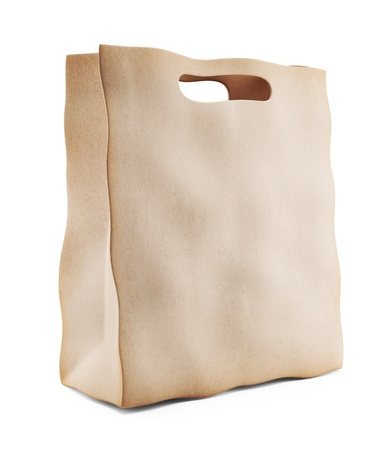 Paper market bag. 3D Icon isolated on white background photo