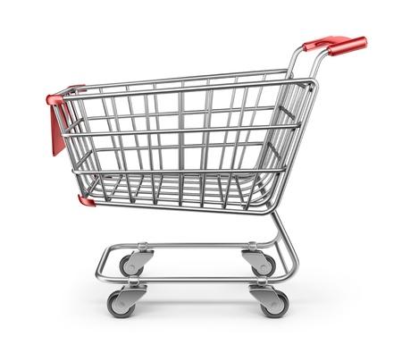 Market shopping cart 3D. Isolated on white background photo