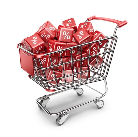 Red market shopping cart. Discount concept. 3D Isolated photo
