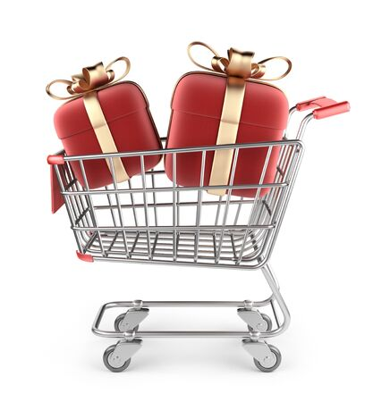 hand cart: Market cart with red gifts. 3D Isolated on white background