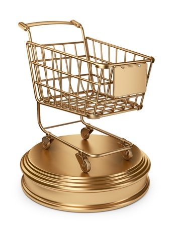 sales event: Golden Market cart. Best Sellers concept. 3D Isolated on white background