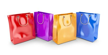 Colorful bags for shopping. 3D isolated on white background photo