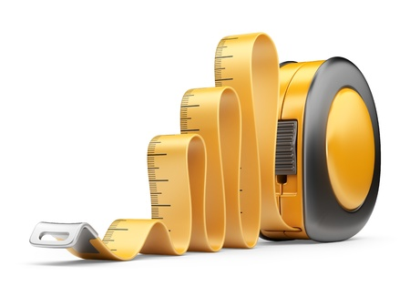 Tape measure ruler. 3D Icon isolated on white background photo