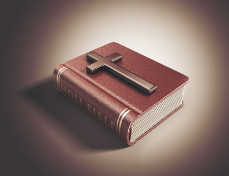 catholicism: Holy Bible book. Catholicism concept. 3D Illustration Stock Photo