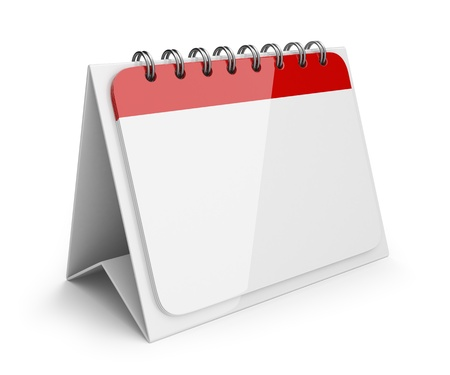 calendar isolated: Blank paper calendar. 3D Icon isolated on white background