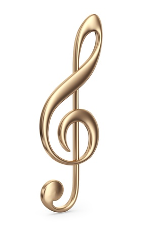 Golden music note. 3D Icon isolated on white background Standard-Bild