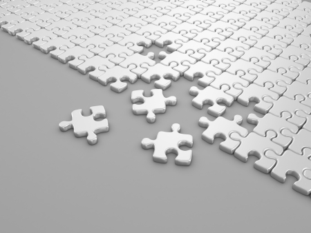 Damaged assembling of puzzle. 3D Illustration on gray background