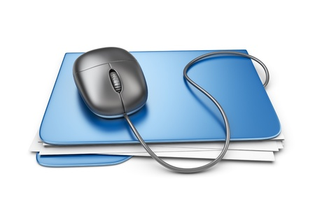 Folder with computer mouse. File storage concept. 3D Isolated photo