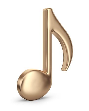 Gouden muziek noot. 3D pictogram geïsoleerd op een witte achtergrond