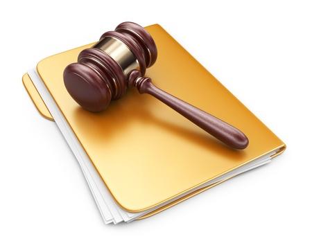 컴퓨터 폴더에 법률 망치. 3D 아이콘 흰색 배경에 고립