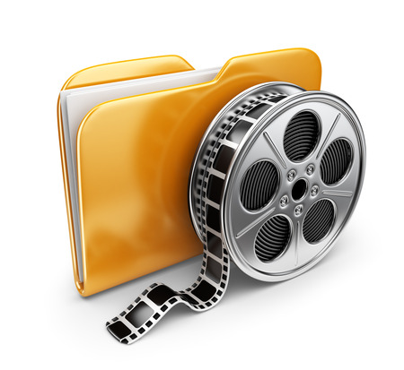 Movie folder with a films spool. 3D Icon isolated on white background photo