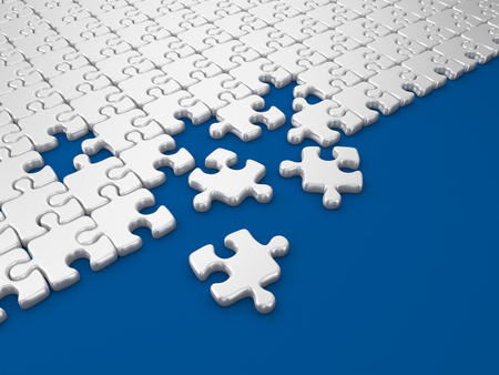 differs: Damaged assembling of puzzle. 3D Illustration on blue background
